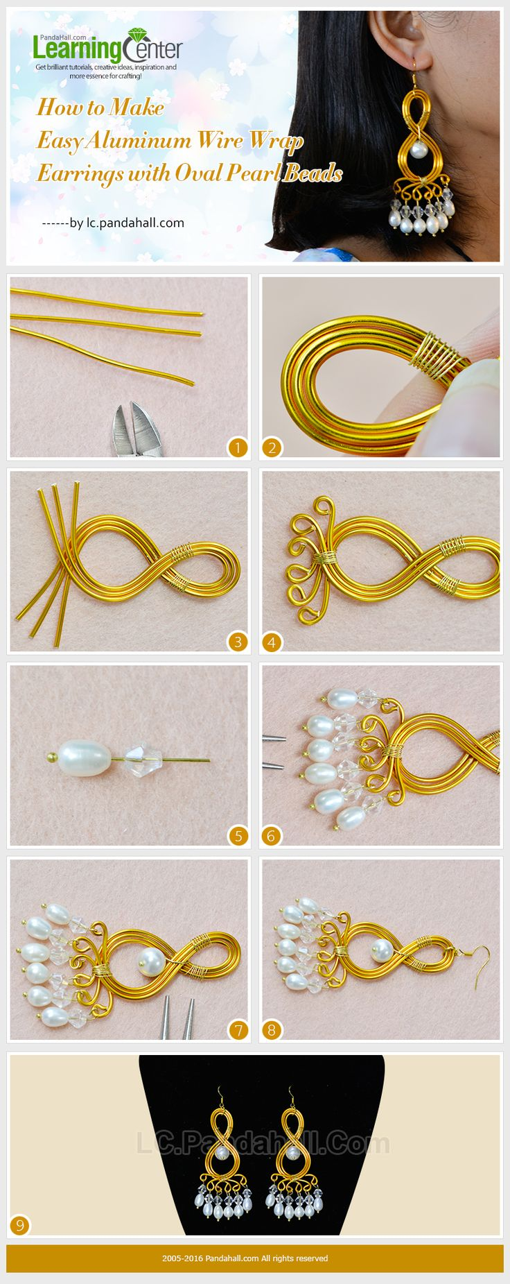 How to Make Easy Aluminum Wire Wrap Earrings with Oval Pearl Beads ~ Wire Jewelry Tutorials