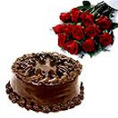 Chocolate Cake with 12 Red Roses Bunch Available at  : http://www.flowersgiftshyderabad.com/Birthday-Gifts-to-Hyderabad.php