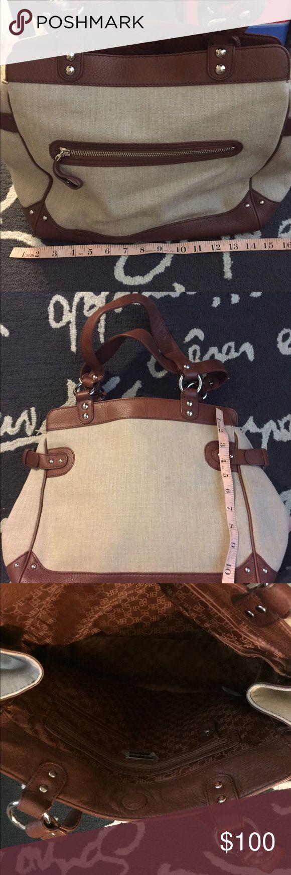 Banana Republic linen leather trim bag Beautiful brown soft leather trim linen bag. You need this bag!! Banana Republic Bags Totes