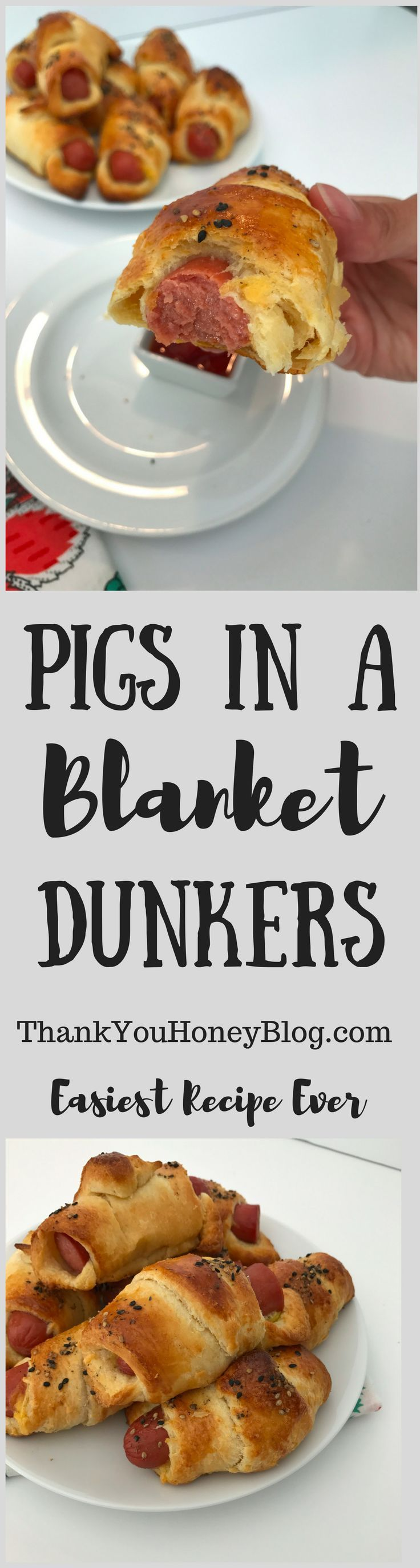 Pig in a Blanket Dunkers recipe. Perfect appetizer or quick dinner! Click through & PIN IT! Follow Us on Pinterest + Subscribe to ThankYouHoneyBlog{dot}com, Recipe, Dinner, Appetizer, Spring, Tutorial, #EasterwithPillsbury {ad} @walmart