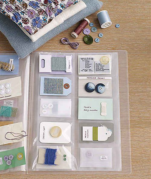 Keep the thread and buttons from your clothing in a binder or photo album. | 52 Meticulous Organizing Tips For The OCD Person In You
