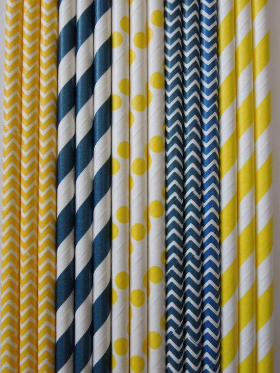 50 Pailles de papier bleu marine & jaune rayures bleu marine et jaune points Chevron bricolage drapeaux mariage enfants coccinelle anniversa...