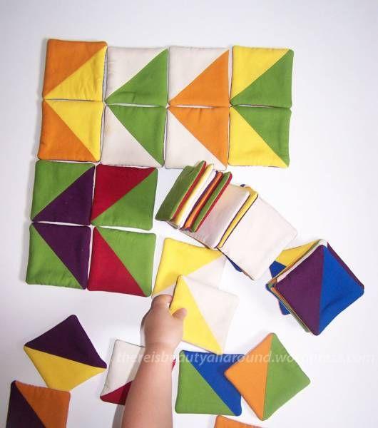crédit photo Beauty all around  Quand j'ai vu ce jeu chez Beauty all around, j'ai eu envie de faire la même chose tout de suite. Mais il était un peu tard et je n'étais pas sûre d'avoir tous les tissus nécessaires. Mais je n'exclue pas de me lancer dans ce projet prochainement (voire en faire un cadeau de Noël). En attendant, j'avais également envie de le partager : il s'agit de carrés de tissu, bicolores et matelassés, avec lesquels votre enfant pourra faire de jolies compositions, et ceci…