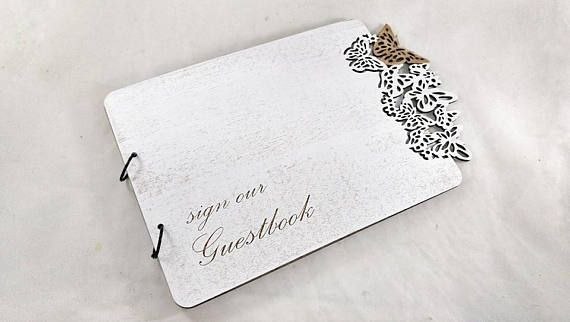 Butterflies Wedding Guest Book 3D Guestbook Personalized