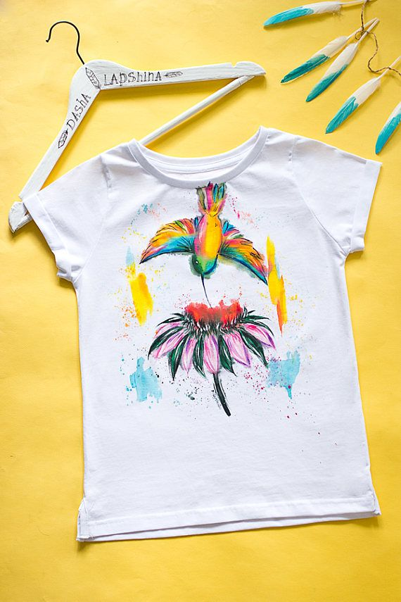 Hand Painted T Shirt White And Colorful Boho Bohemian T Shirt