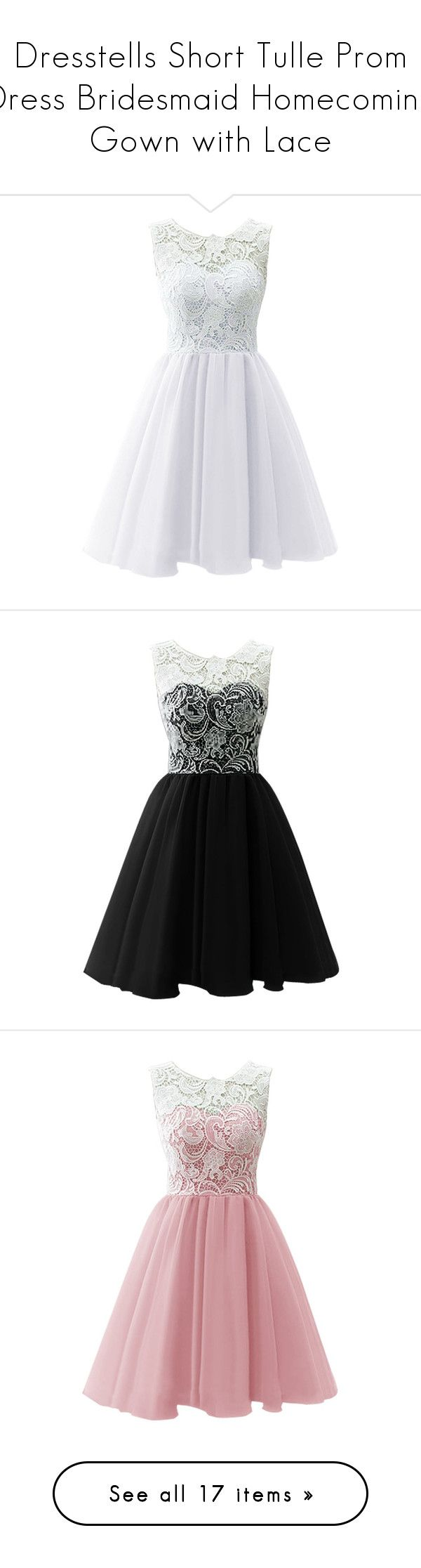 """""""Dresstells Short Tulle Prom Dress Bridesmaid Homecoming Gown with Lace"""" by qwertyuiop-sparta ❤ liked on Polyvore featuring dresses, vestidos, short dresses, prom, bridesmaid dresses, mini prom dresses, short mini dress, short homecoming dresses, short bridesmaid dresses and black"""