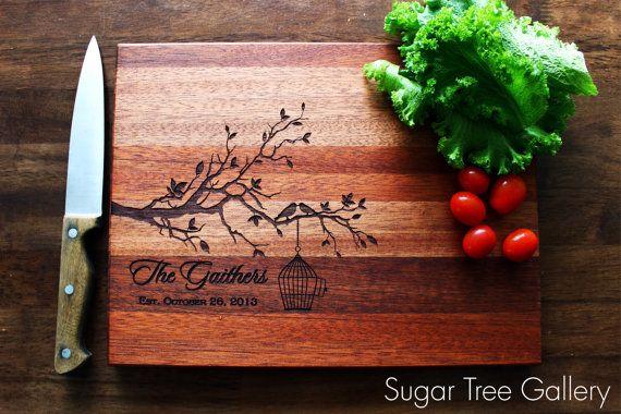 Custom Cutting Board, Personalized Engraved Gift, Tree Cutting Board, Custom Wedding, Christmas, Anniversary, Housewarming Gift