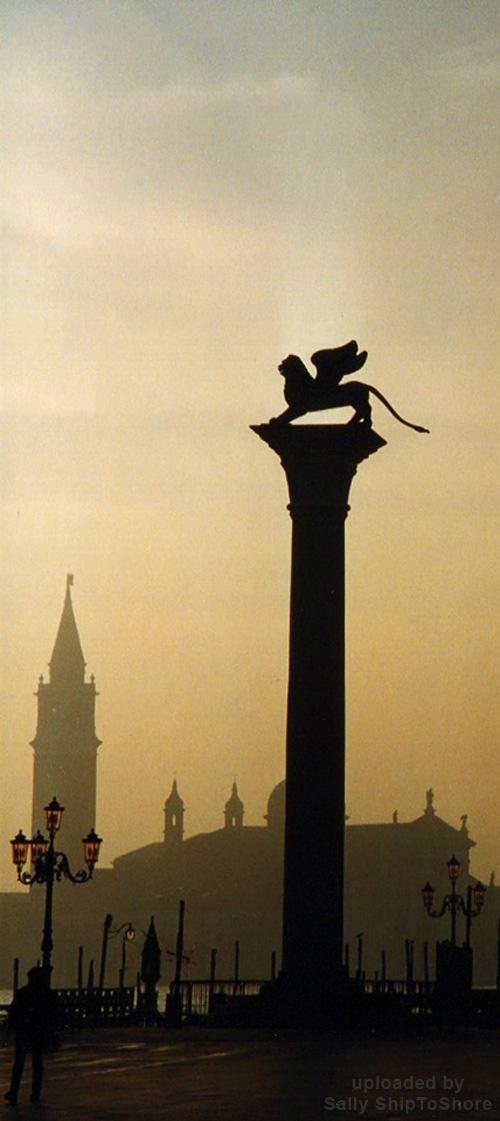 Venice - Winged Lion in winter mist.