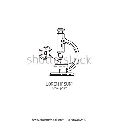 Microscope. Simple logo design templates for the concept of prevention of influenza