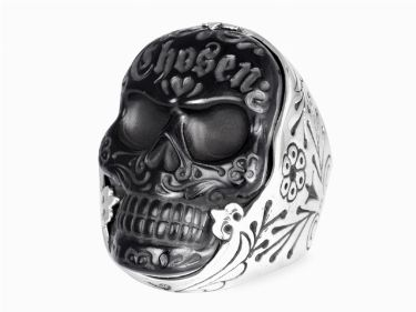 Carved #Jet Chosen #Skull #Ring KING BABY STUDIO - OFFICIAL SITE