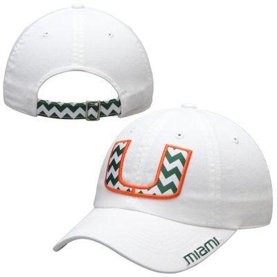 Miami Hurricanes Top Of The World Ladies Chevron Crew Adjustable Hat – White