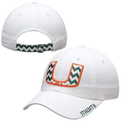 Miami Hurricanes Top Of The World Ladies Chevron Crew Adjustable Hat – White