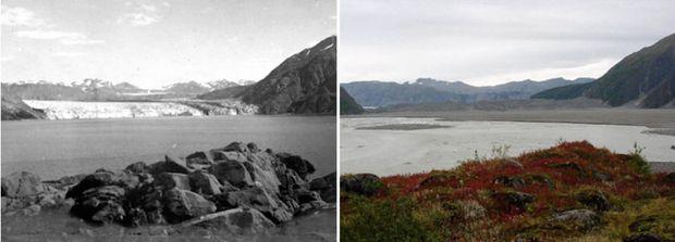Aljaška v auguste 1906 vs. v septembri 2003. (Foto: NASA)