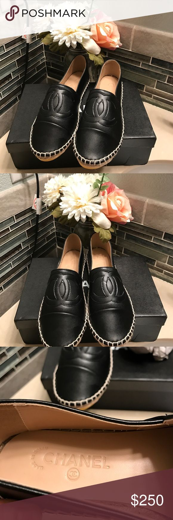 Beautiful black espadrilles 🙀💗 They are just breathtaking 😍 they box and show say that they are 37 (7usa) size but they are actually more like a 35.5 (5.5usa) or 36 (6usa) 😁 price reflects authenticity so please don't ask the obvious 😁 the box came damage. Each shoe comes with a dustbag 😀 offers welcome ! Shoes Espadrilles