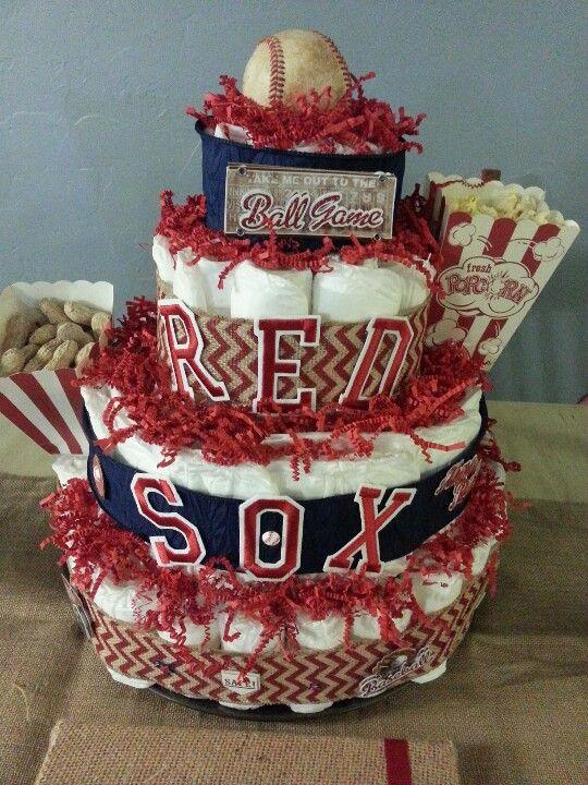 Baseball diaper cake -Red Sox