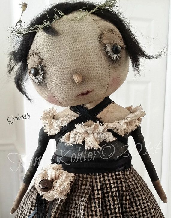 Prim Artist Doll Gabrielle Primitive OOAK by Kim Kohler Of Veenas Mercantile