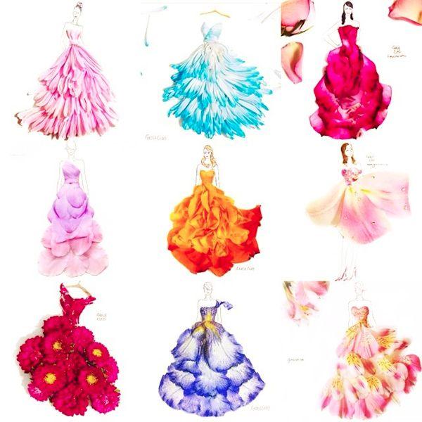 Grace Ciao flower petal fashion illustrations