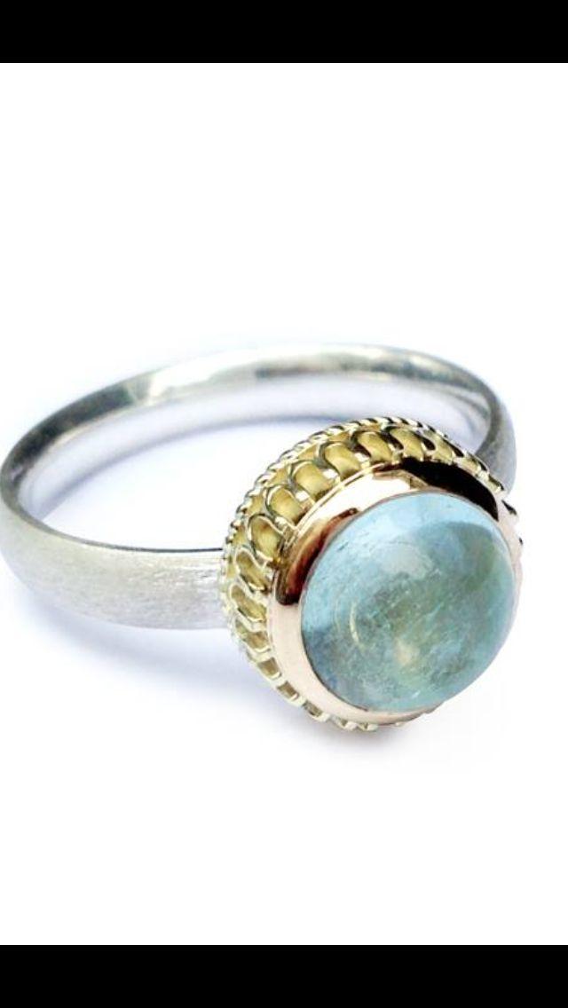 Ring yellow gold with silver and aquamarine I  Eelz jewellery  I  handmade I  www.eelzsieraden.nl