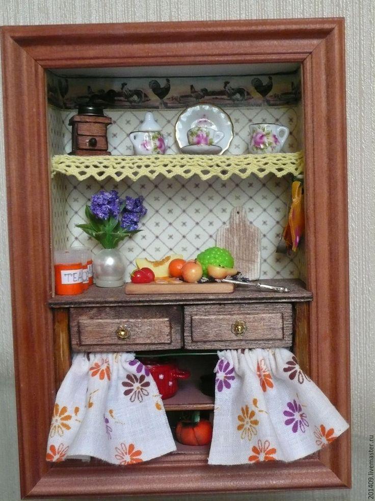 Купить Мини- Кухонька - разноцветный, ручная работа, румбокс, миниатюра, миниатюра для кукол, миниатюрная еда