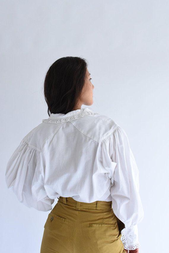 Poet Romantic Blouse Linen Folk Blouse Shirt S Vintage White Linen Puff Sleeve Shirt