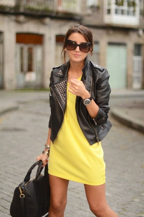 Canary yellow dress w/ black studded leather jacket