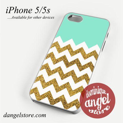 Blue Glitter Gold Chevron Phone case for iPhone 4/4s/5/5c/5s/6/6 plus