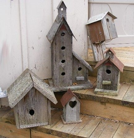 barnboard birdhouses make such a great addition to any garden-and they are so rustic looking! Love them!\