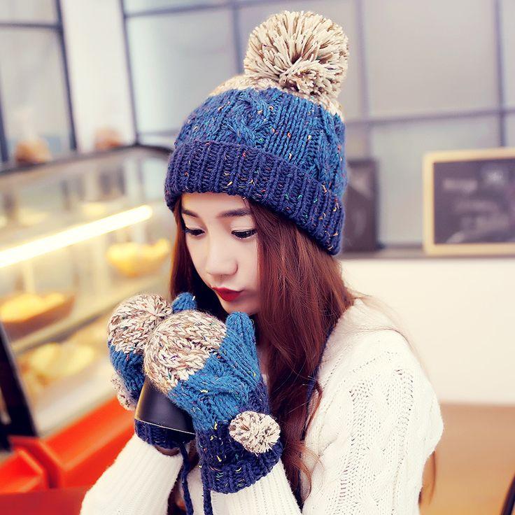 Bonnet Women Casual 2015 Winter Hats For Women Gorro Skullies Glove Bonnet Femme Tocas Pompom Female Beanies Knit Hat Gloves Set-in Scarf, Hat & Glove Sets from Women's Clothing & Accessories on Aliexpress.com | Alibaba Group