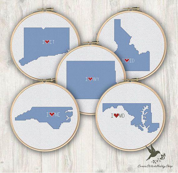 North Carolina Maryland Connecticut Idaho Wyoming Usa States Cross