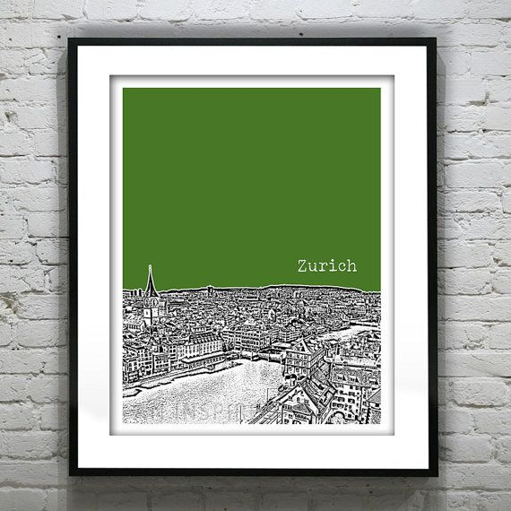 Zurich Switzerland Poster City Skyline Art by AnInspiredImage, $19.00