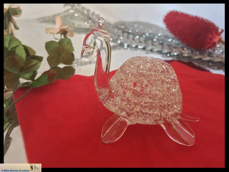 Vintage Turtle Tortoise Crystal Webbed Glass Figurine, Ice-Like Glass Crystal Figurine, Feng Shui Mid-Century, Gifts for Her, Gifts Under 25