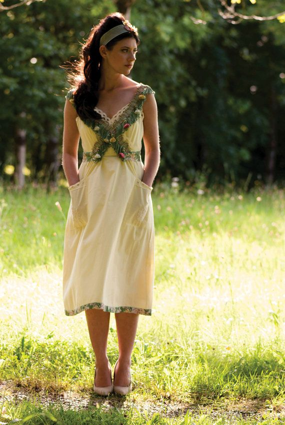 Pale yellow green and pink floral tassel trim mini dress vintage inspired by AliceHalliday on Etsy