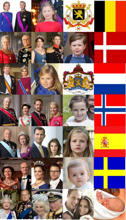 tiny-teapot:  European Monarchs and their Heirs-Belgium (Philippe and Mathilde, Elisabeth), Denmark (Margrethe and Henrik, Frederik and Mary, and  Christian) Netherlands (Willem-Alexander and Maxima, Amalia), Norway (Harald and Sonja, Haakon and Mette-Marit, Ingrid-Alexandra), Spain (Juan Carlos and Sofia, Felipe and Letizia, Leonor), Sweden (Carl Gustaf and Silvia, Victoria and Daniel, Estelle), and Great Britain (Elizabeth and Philip, Charles and Camilla, William and Catherine, George)