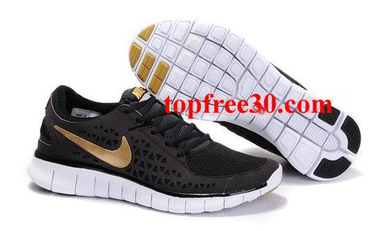 topfree30.com for nikes 50% OFF - Mens Nike Free Run Black Gold Shoes
