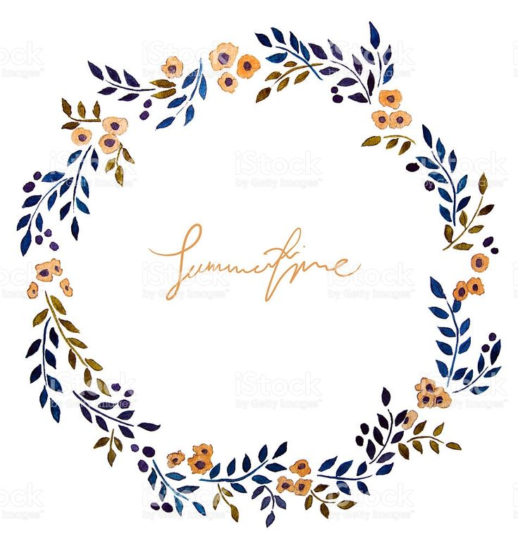 hand painted watercolor wreath. Flower decoration. Floral design. royalty-free stock illustration