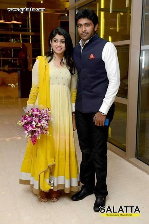 Vikram Prabhu With his Wife at DD Marriage Reception
