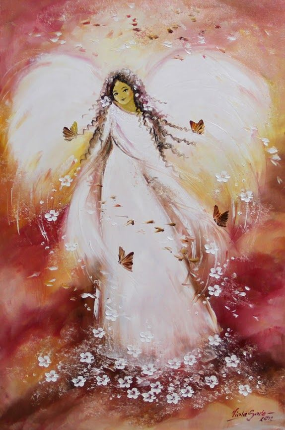 Viola Sado. Angel, flowers and butterflies . Please also visit www.JustForYouPropheticArt.com for colorful inspirational Prophetic Art and stories. Thank you so much! Blessings!
