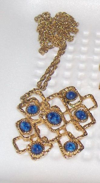 Sarah Coventry Vintage Necklace Pendant Blue Stones Canada  #SarahCoventry #Pendant