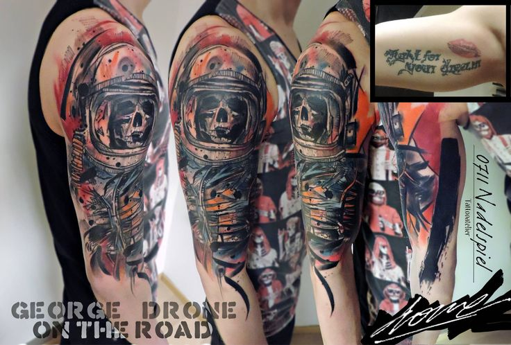 6 hour session. Astronaut script/kiss cover-up on inner arm. Design is mixed with two illustrations of #RussMills.. With #starbritecolors. ✅Facebook: https://www.facebook.com/Dronart ✅Instagram: https://www.instagram.com/GeorgeDrone ✅Website: www.dronart.gr