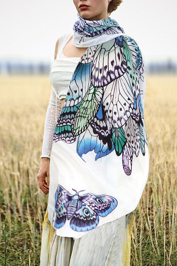 100% SILK scarf, Hand painted Butterflies in Blue tones, stunning unique and useful, perfect gift