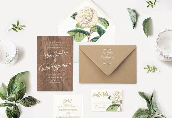 Real Wood Wedding Invitations Kraft Envelopes White Ink Printing