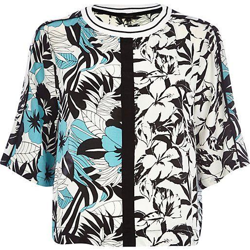 Black floral boxy cropped t-shirt #riverisland