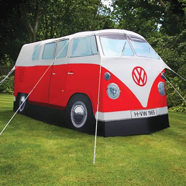 Perfect for Mom! The VW Bus Tent: the waterproof tent that reproduces the classic VW bus, comfortably sleeping four while transporting campers back to the Psychedelic 60's.