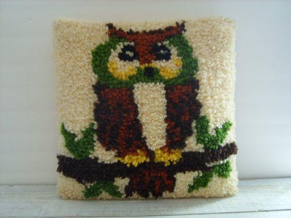 Vintage Latch Hook Owl Throw Pillow  70s Home Decor by RetrOAmyO