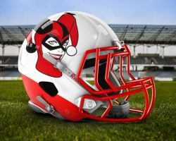 Team DC Villains: Harley Quinn Football Helmet by RobertoJOEL1307