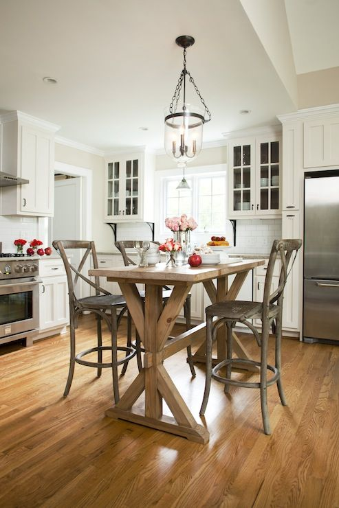Try using some old wood from gramma's as accents or trim.  Instead of an island...salvaged wood trestle pub table surrounded by Restoration Hardware Madeleine Armless Counter Stools and Pottery Barn Hundi Lantern. Tan walls and white kitchen cabinets with granite countertops.