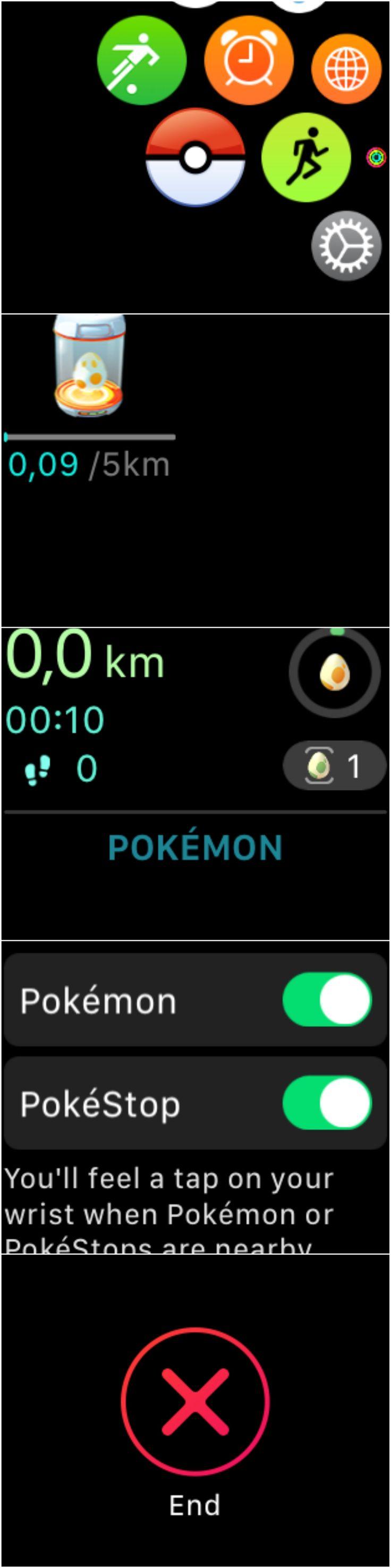 How Pokemon Go looks like on the Apple Watch