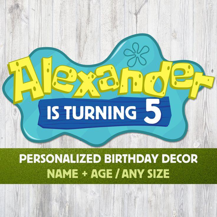 SpongeBob Logo Custom Party Decor Personalized With Name ...