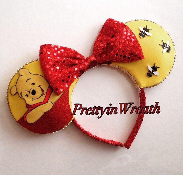 Winnie the Pooh inspired Mickey Mouse ears headband by PrettyinWreath on Etsy https://www.etsy.com/listing/231519344/winnie-the-pooh-inspired-mickey-mouse