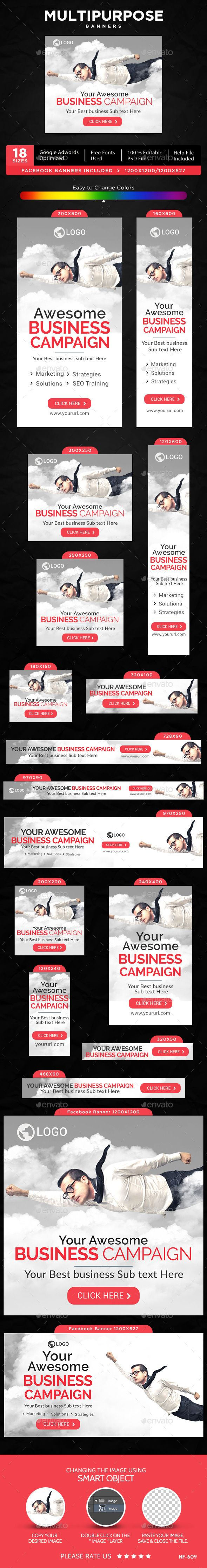 Multipurpose Banners Template #design #ads Download: http://graphicriver.net/item/multipurpose-banners/12723289?ref=ksioks